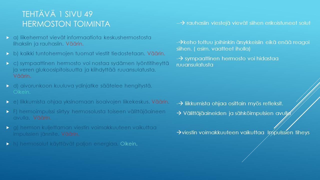 TEHTÄVÄ 1 SIVU 49 HERMOSTON TOIMINTA
