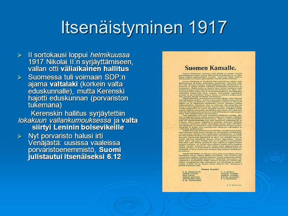Itsenäistyminen 1917 II sortokausi loppui helmikuussa 1917 Nikolai II:n syrjäyttämiseen, vallan otti väliaikainen hallitus.