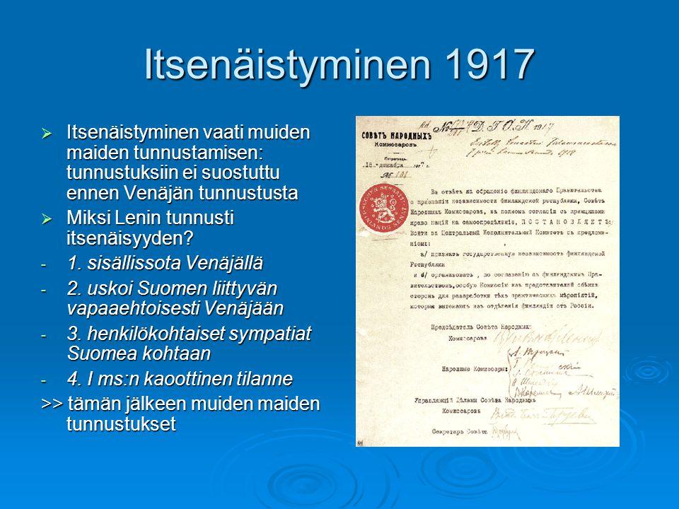 Itsenäistyminen 1917 Itsenäistyminen vaati muiden maiden tunnustamisen: tunnustuksiin ei suostuttu ennen Venäjän tunnustusta.