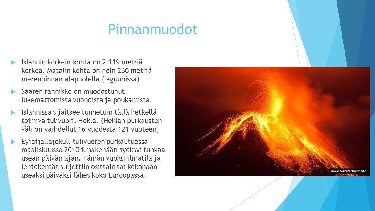 Pinnanmuodot Islannin korkein kohta on 2 119 metriä korkea. Matalin kohta on noin 260 metriä merenpinnan alapuolella (laguunissa)