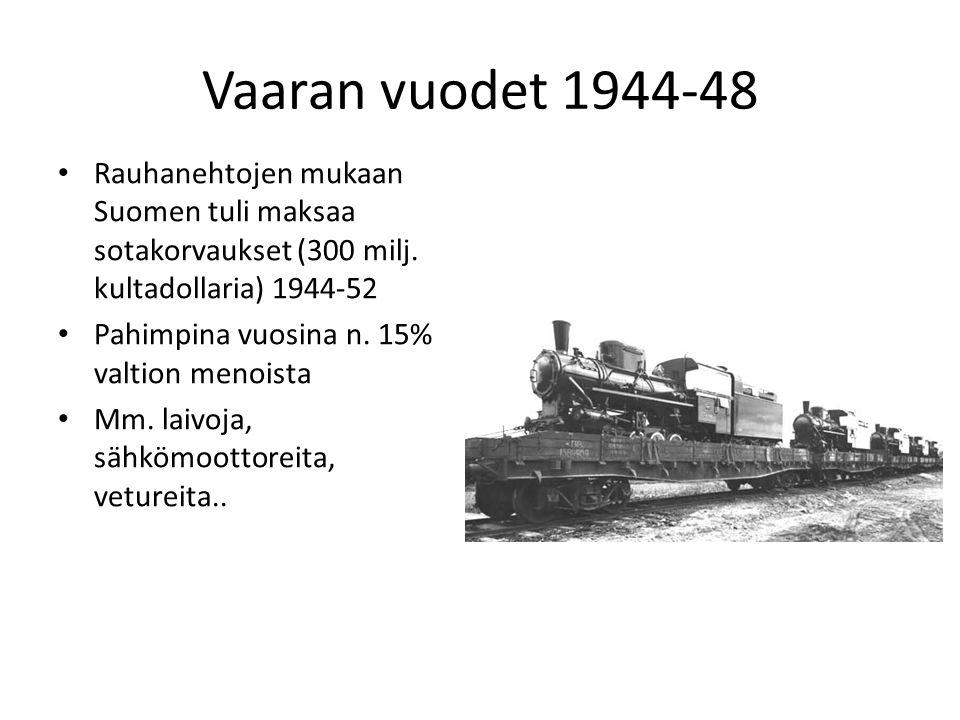 Vaaran vuodet 1944-48 Rauhanehtojen mukaan Suomen tuli maksaa sotakorvaukset (300 milj. kultadollaria) 1944-52.