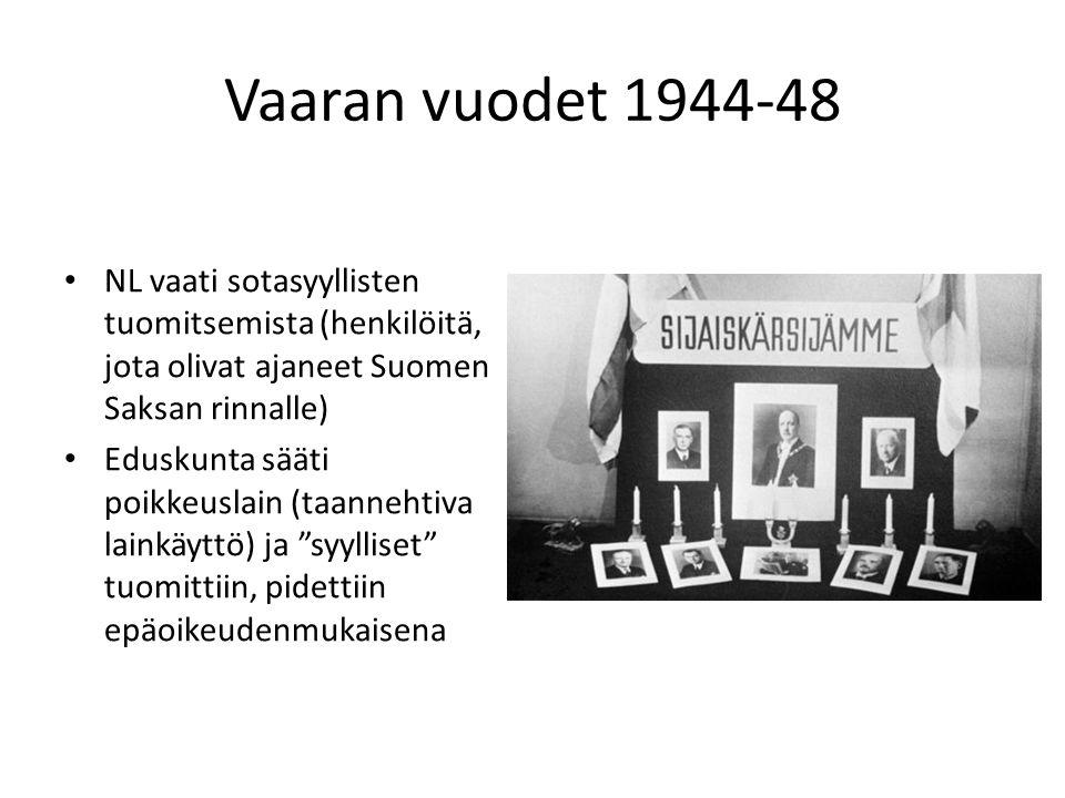 Vaaran vuodet 1944-48 NL vaati sotasyyllisten tuomitsemista (henkilöitä, jota olivat ajaneet Suomen Saksan rinnalle)