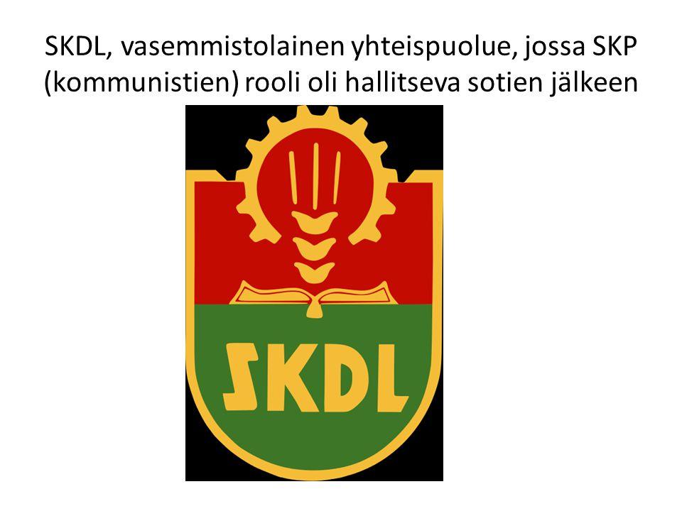 SKDL, vasemmistolainen yhteispuolue, jossa SKP (kommunistien) rooli oli hallitseva sotien jälkeen