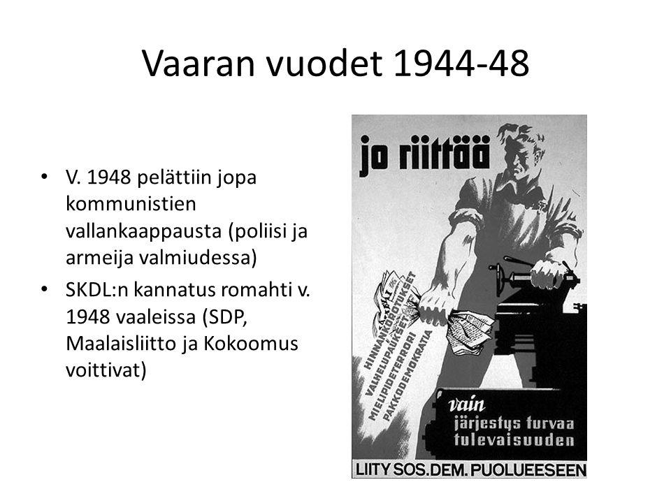 Vaaran vuodet 1944-48 V. 1948 pelättiin jopa kommunistien vallankaappausta (poliisi ja armeija valmiudessa)