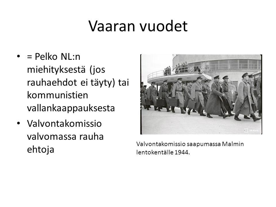Vaaran vuodet = Pelko NL:n miehityksestä (jos rauhaehdot ei täyty) tai kommunistien vallankaappauksesta.