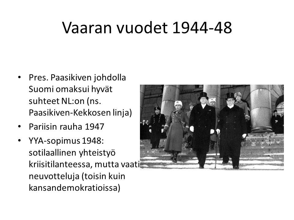 Vaaran vuodet 1944-48 Pres. Paasikiven johdolla Suomi omaksui hyvät suhteet NL:on (ns. Paasikiven-Kekkosen linja)