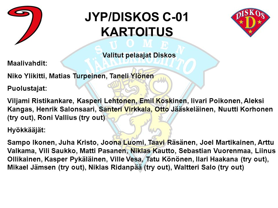 JYP/DISKOS C-01 KARTOITUS Valitut pelaajat Diskos