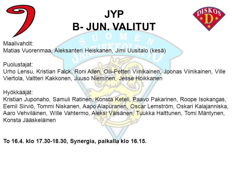 JYP B- JUN. VALITUT Maalivahdit: