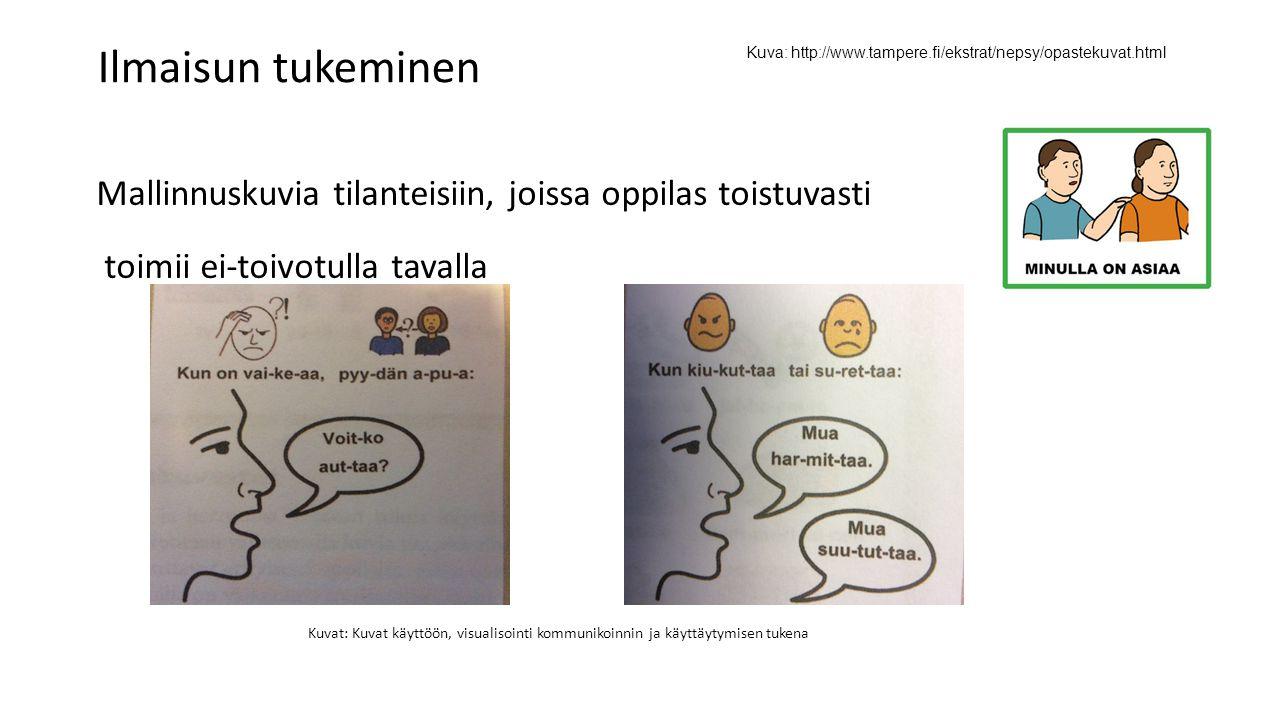 Ilmaisun tukeminen Kuva: http://www.tampere.fi/ekstrat/nepsy/opastekuvat.html. Mallinnuskuvia tilanteisiin, joissa oppilas toistuvasti.