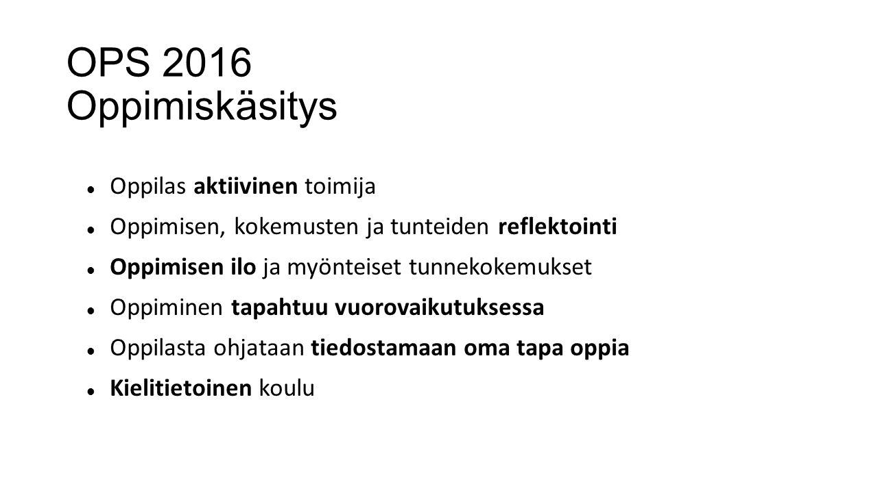 OPS 2016 Oppimiskäsitys Oppilas aktiivinen toimija
