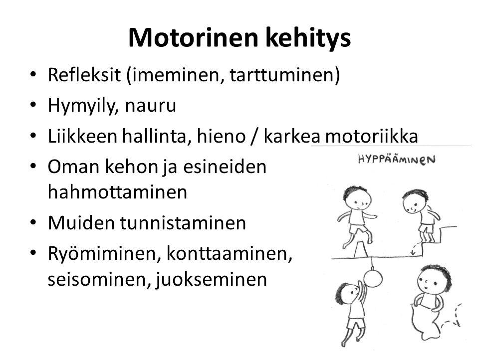 Motorinen kehitys Refleksit (imeminen, tarttuminen) Hymyily, nauru
