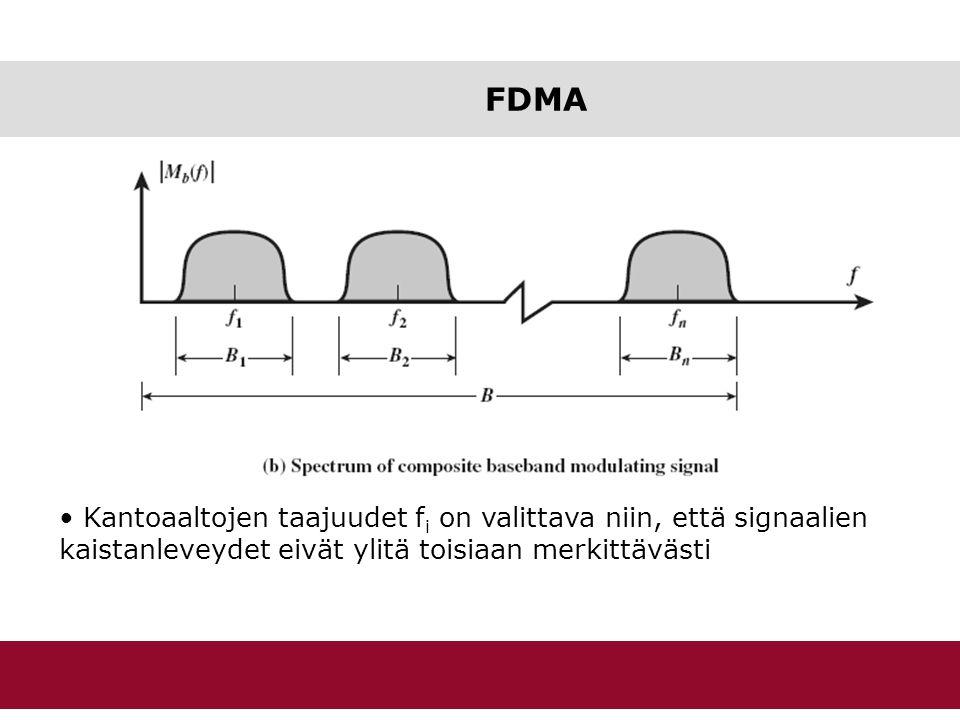 FDMA Kantoaaltojen taajuudet fi on valittava niin, että signaalien kaistanleveydet eivät ylitä toisiaan merkittävästi.