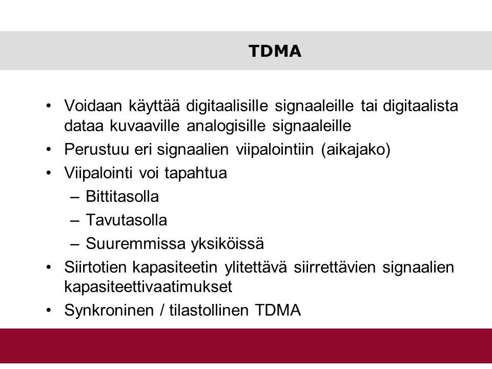 TDMA Voidaan käyttää digitaalisille signaaleille tai digitaalista dataa kuvaaville analogisille signaaleille.
