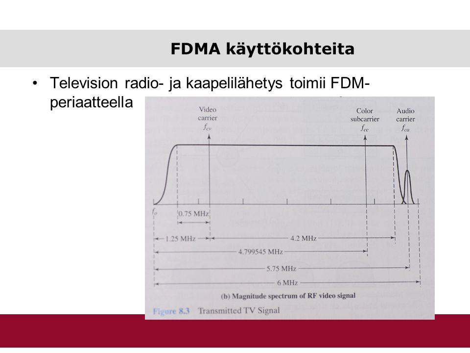FDMA käyttökohteita Television radio- ja kaapelilähetys toimii FDM-periaatteella