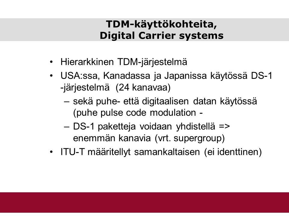 TDM-käyttökohteita, Digital Carrier systems