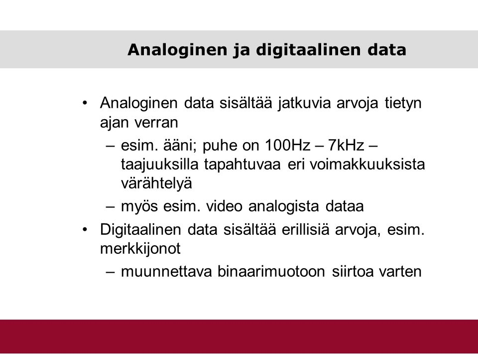 Analoginen ja digitaalinen data