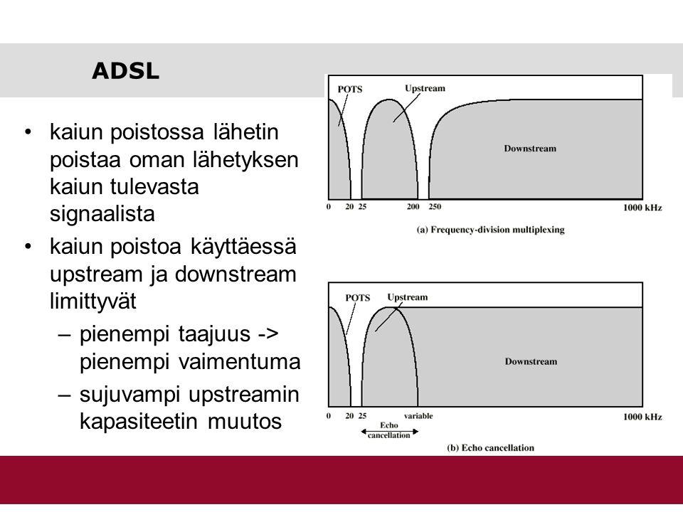 ADSL kaiun poistossa lähetin poistaa oman lähetyksen kaiun tulevasta signaalista. kaiun poistoa käyttäessä upstream ja downstream limittyvät.