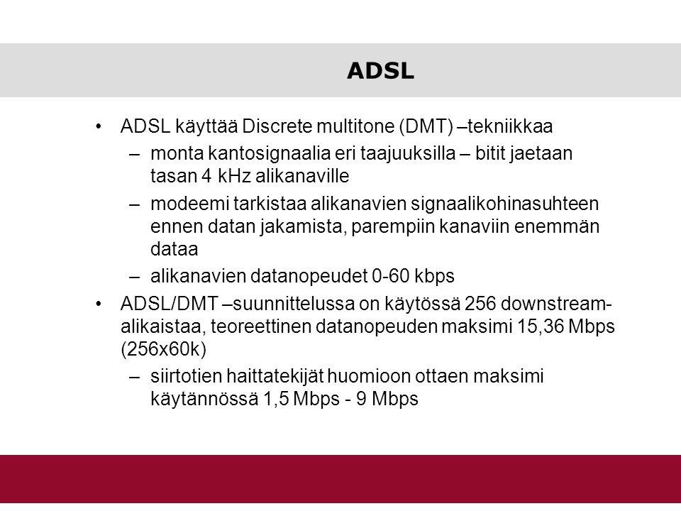 ADSL ADSL käyttää Discrete multitone (DMT) –tekniikkaa