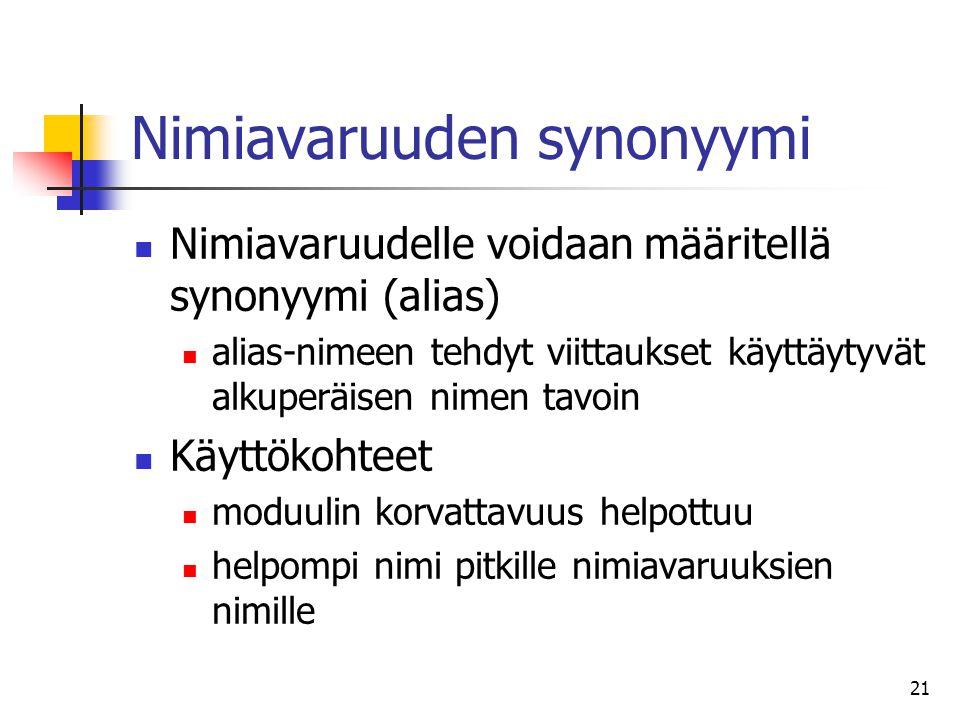 Nimiavaruuden synonyymi