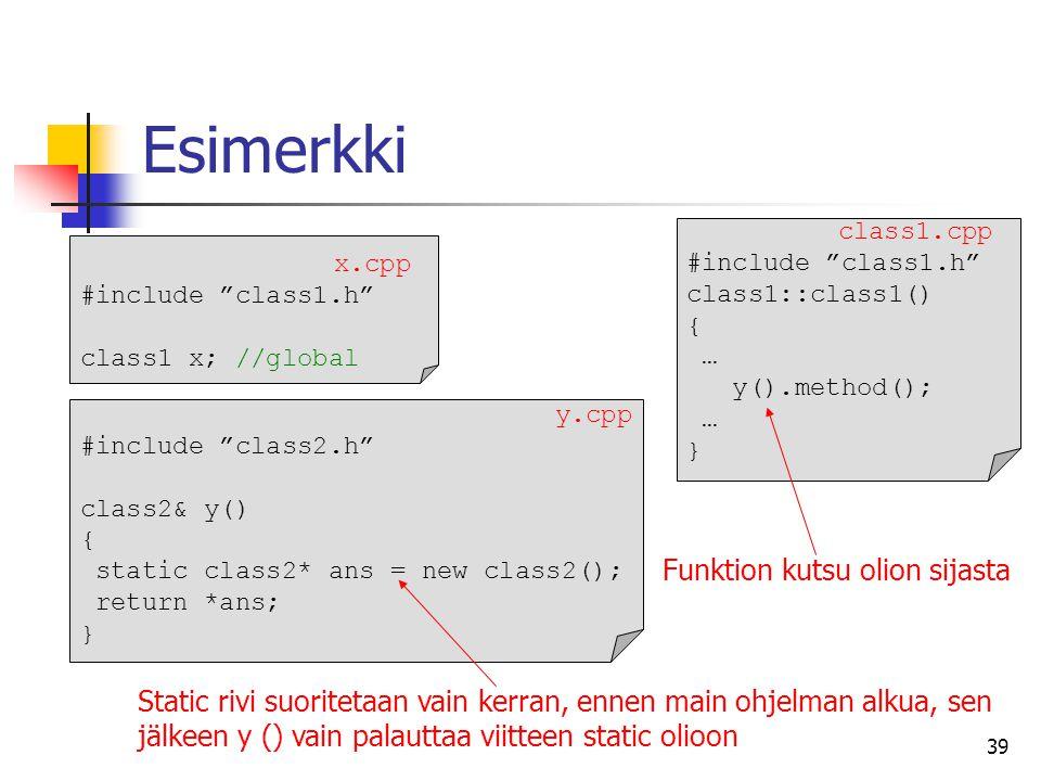 Esimerkki Funktion kutsu olion sijasta