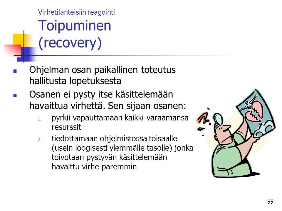 Virhetilanteisiin reagointi Toipuminen (recovery)