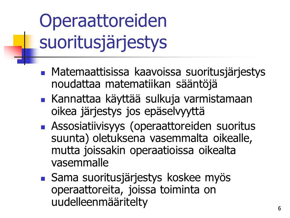 Operaattoreiden suoritusjärjestys