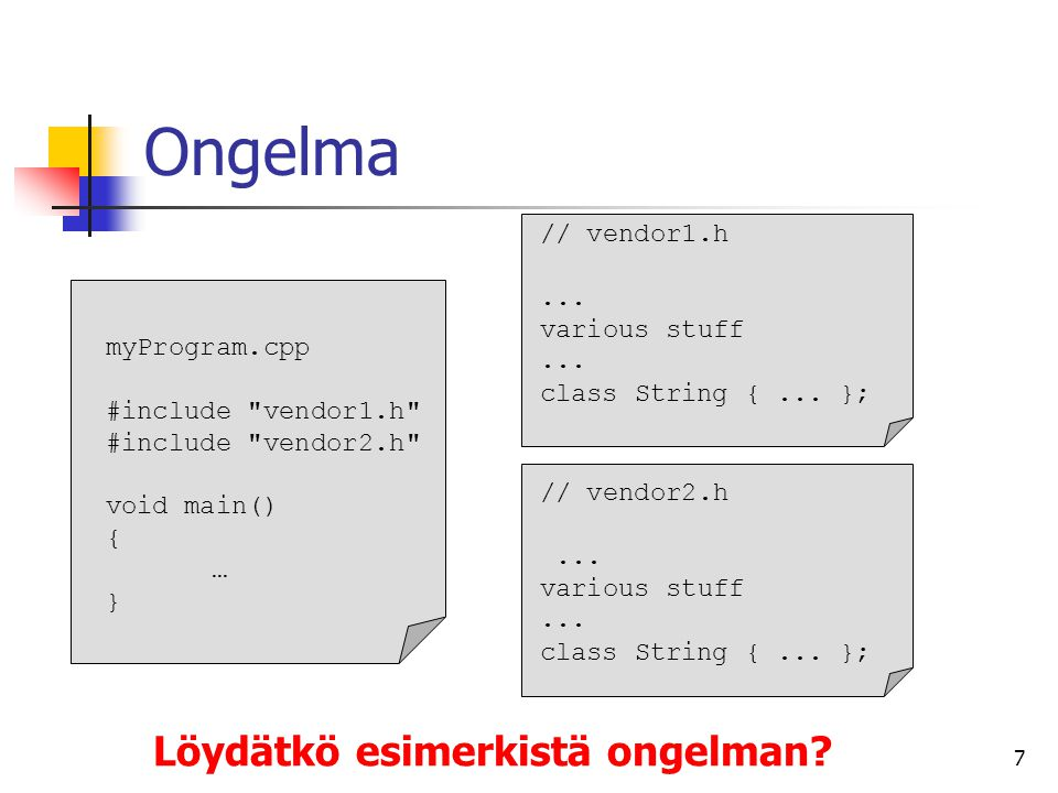 Ongelma Löydätkö esimerkistä ongelman // vendor1.h ... various stuff