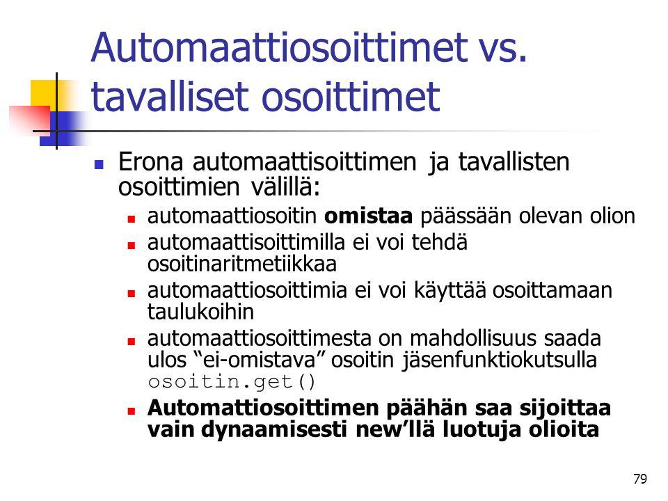 Automaattiosoittimet vs. tavalliset osoittimet