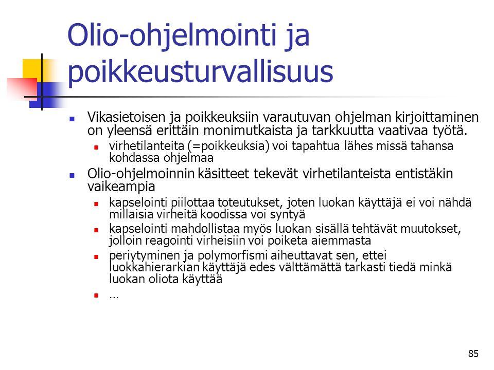 Olio-ohjelmointi ja poikkeusturvallisuus