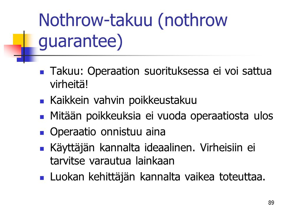 Nothrow-takuu (nothrow guarantee)