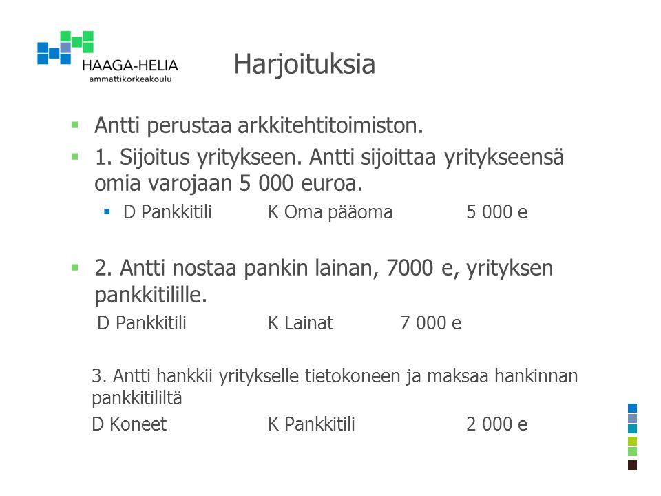 Harjoituksia Antti perustaa arkkitehtitoimiston.