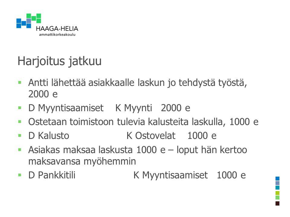 Harjoitus jatkuu Antti lähettää asiakkaalle laskun jo tehdystä työstä, 2000 e. D Myyntisaamiset K Myynti 2000 e.