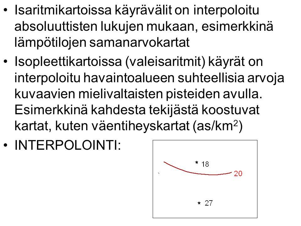 Isaritmikartoissa käyrävälit on interpoloitu absoluuttisten lukujen mukaan, esimerkkinä lämpötilojen samanarvokartat