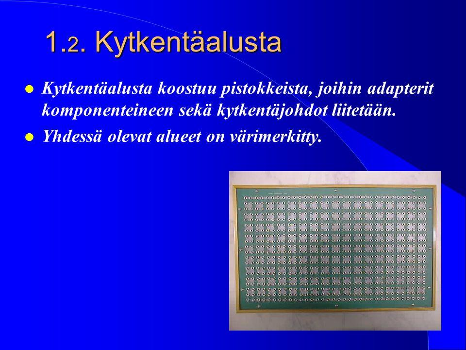 1.2. Kytkentäalusta Kytkentäalusta koostuu pistokkeista, joihin adapterit komponenteineen sekä kytkentäjohdot liitetään.