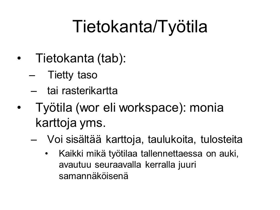 Tietokanta/Työtila Tietokanta (tab):