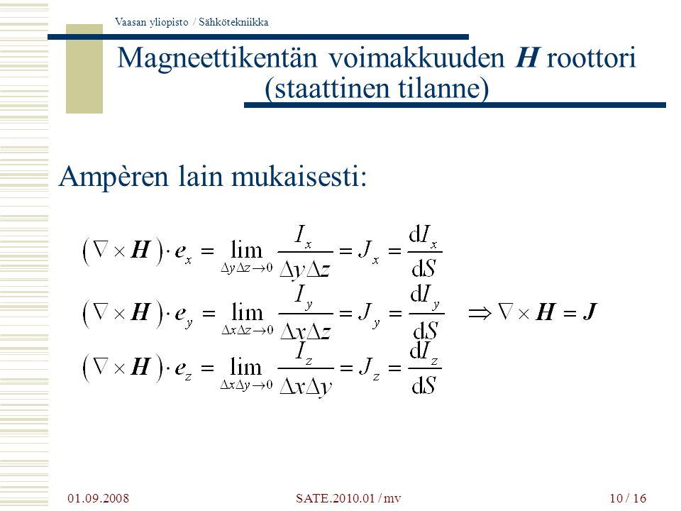 Magneettikentän voimakkuuden H roottori (staattinen tilanne)