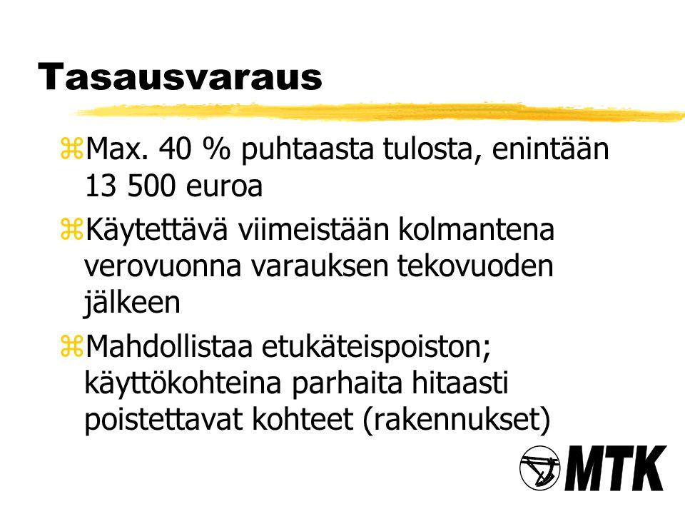 Tasausvaraus Max. 40 % puhtaasta tulosta, enintään 13 500 euroa