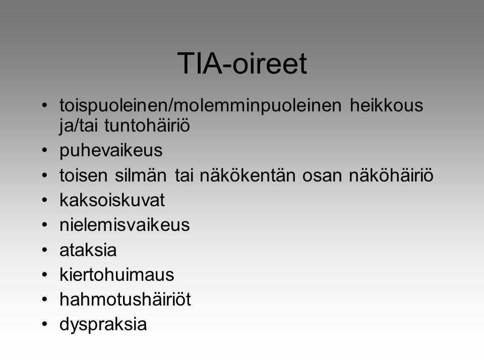 TIA-oireet toispuoleinen/molemminpuoleinen heikkous ja/tai tuntohäiriö