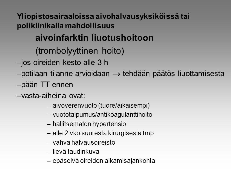 aivoinfarktin liuotushoitoon (trombolyyttinen hoito)