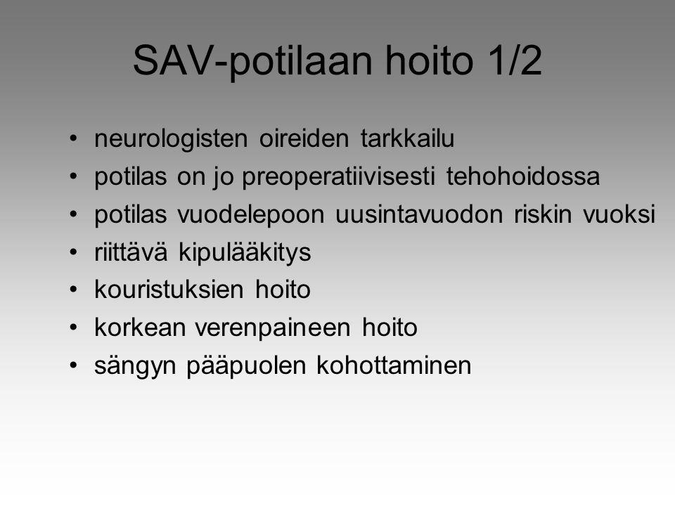 SAV-potilaan hoito 1/2 neurologisten oireiden tarkkailu