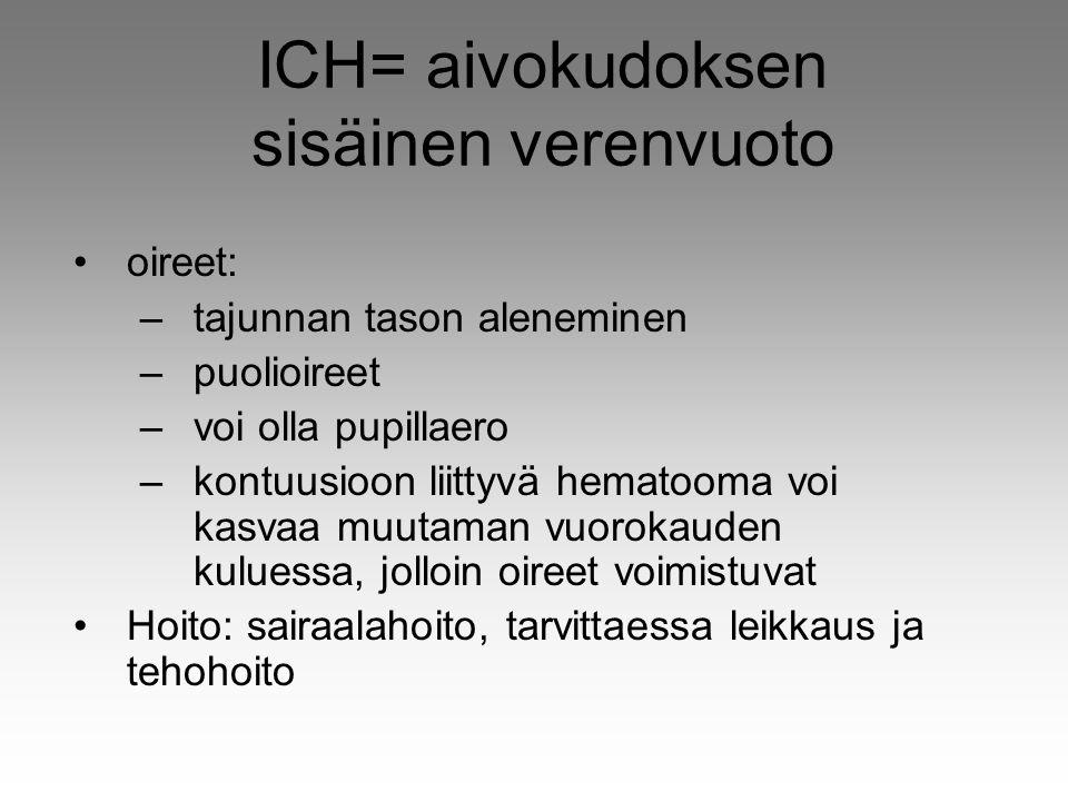 ICH= aivokudoksen sisäinen verenvuoto