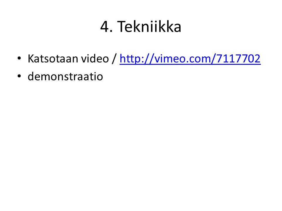 4. Tekniikka Katsotaan video / http://vimeo.com/7117702 demonstraatio