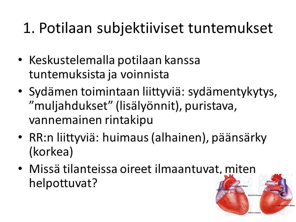 1. Potilaan subjektiiviset tuntemukset