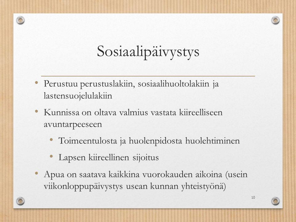 Sosiaalipäivystys Perustuu perustuslakiin, sosiaalihuoltolakiin ja lastensuojelulakiin.