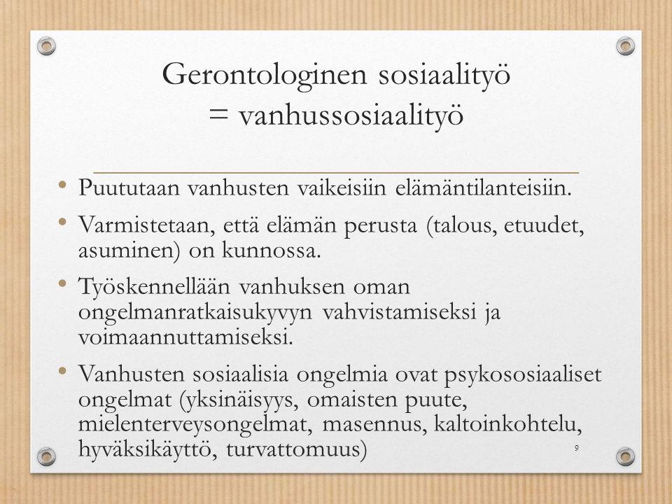 Gerontologinen sosiaalityö = vanhussosiaalityö