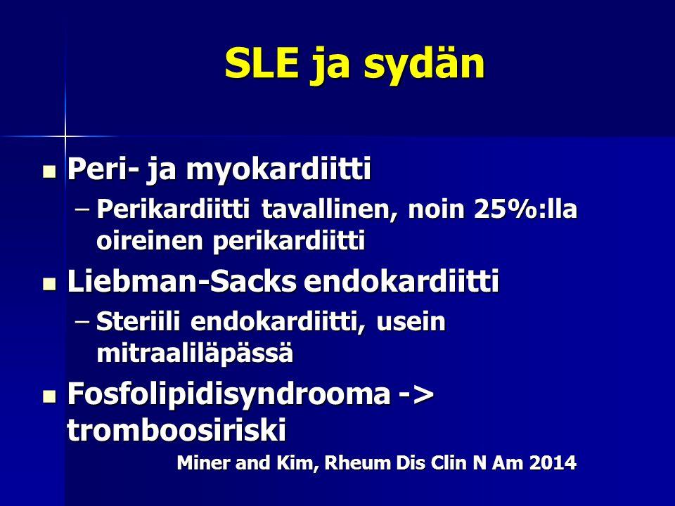 SLE ja sydän Peri- ja myokardiitti Liebman-Sacks endokardiitti