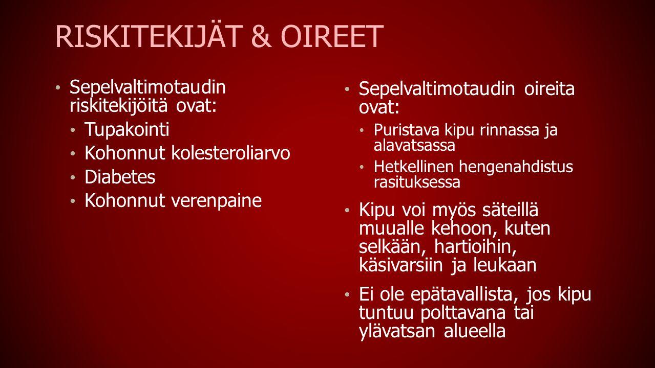 Riskitekijät & OIreet Sepelvaltimotaudin riskitekijöitä ovat: