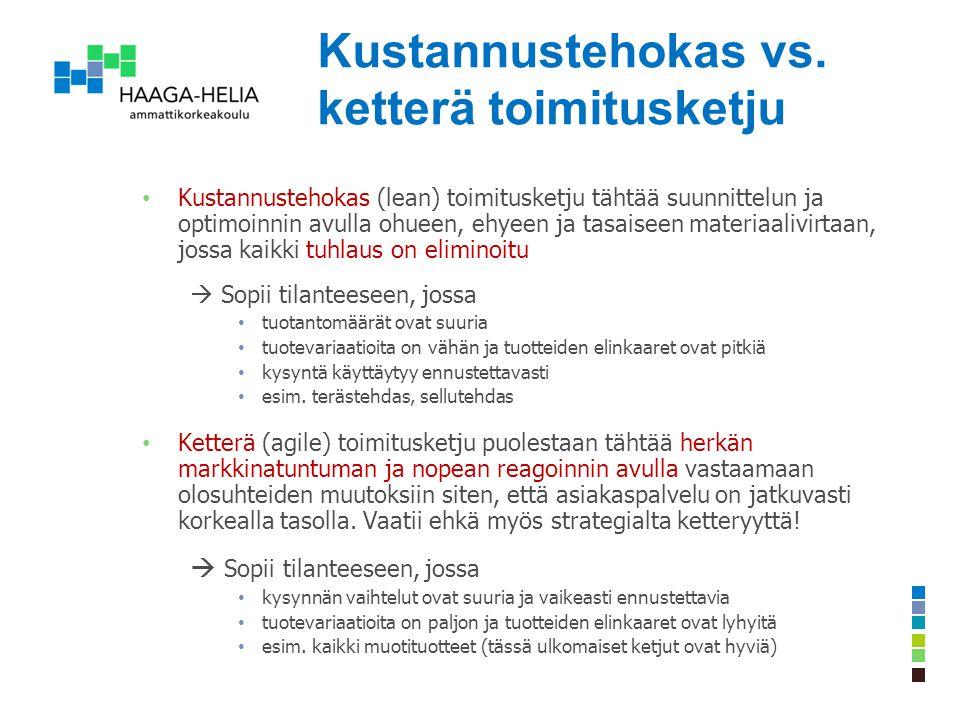 Kustannustehokas vs. ketterä toimitusketju