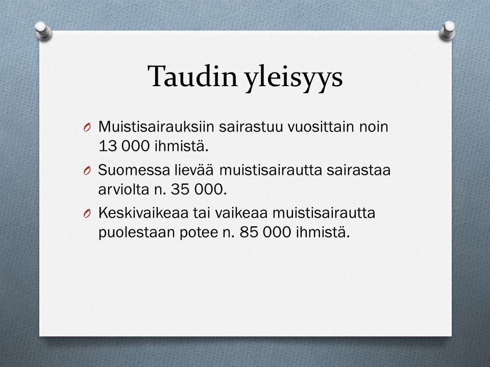 Taudin yleisyys Muistisairauksiin sairastuu vuosittain noin 13 000 ihmistä. Suomessa lievää muistisairautta sairastaa arviolta n. 35 000.