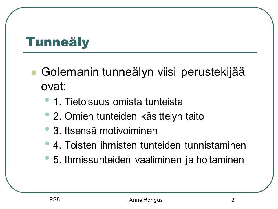 Tunneäly Golemanin tunneälyn viisi perustekijää ovat: